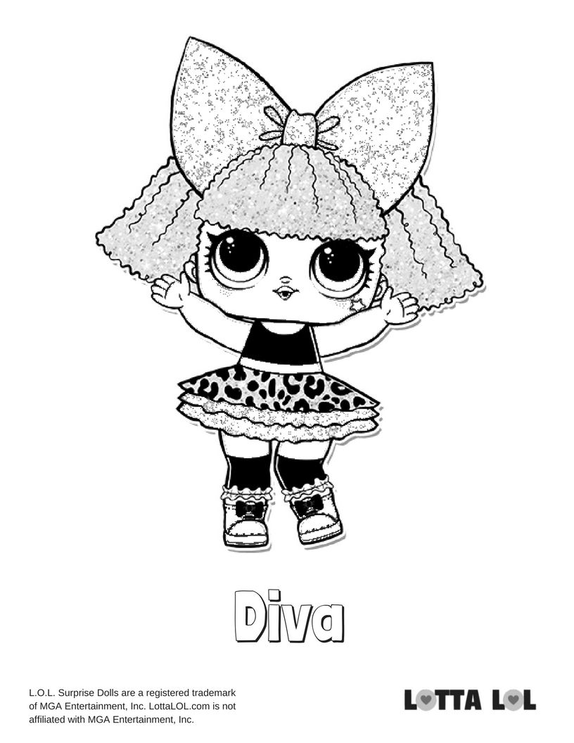 Diva Glitter Coloring Page Lotta Lol Coloring Pages Disney