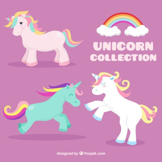 nice colored unicorns set free vector unicorns pinterest unicorns