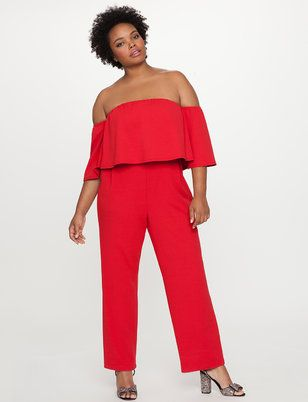 220bfa01a15d Off the Shoulder Ruffle Overlay Jumpsuit - Graduation look  with nude heels