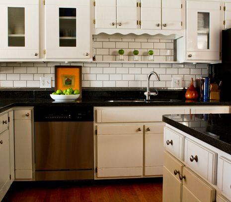Recession Busters Subway Tile Backsplash For Under $9500 Unique Black And White Tile Designs For Kitchens Design Ideas