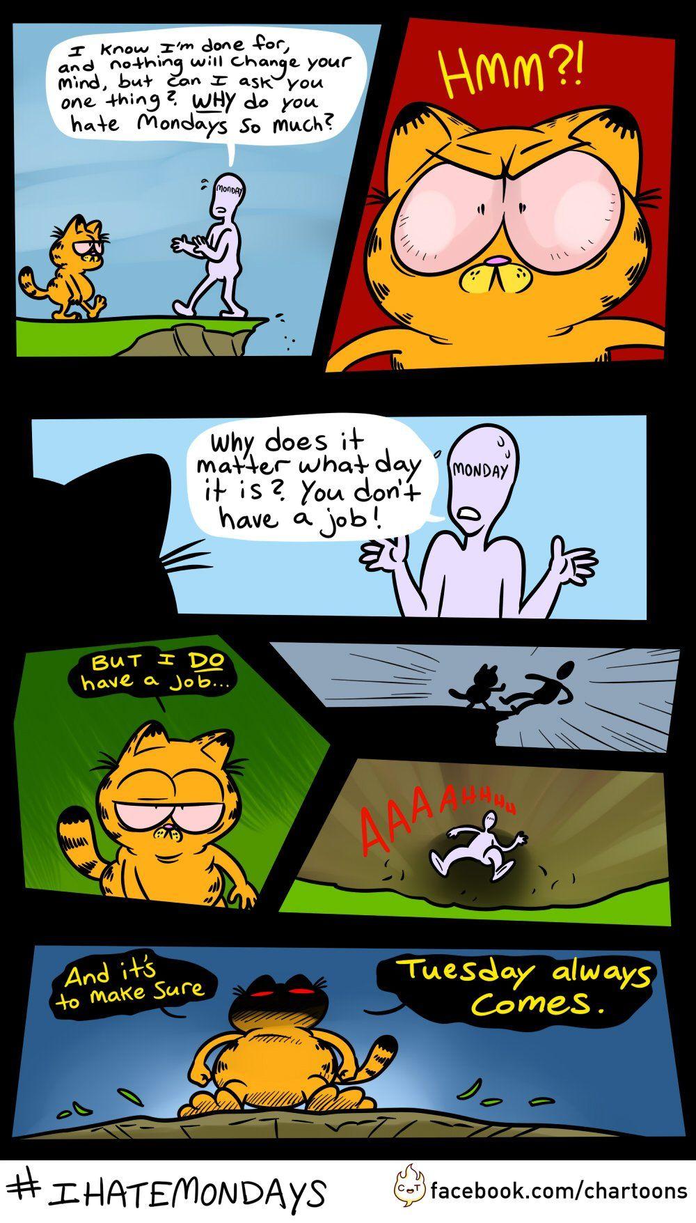 garfield kills monday Garfield comics, Garfield, Funny memes
