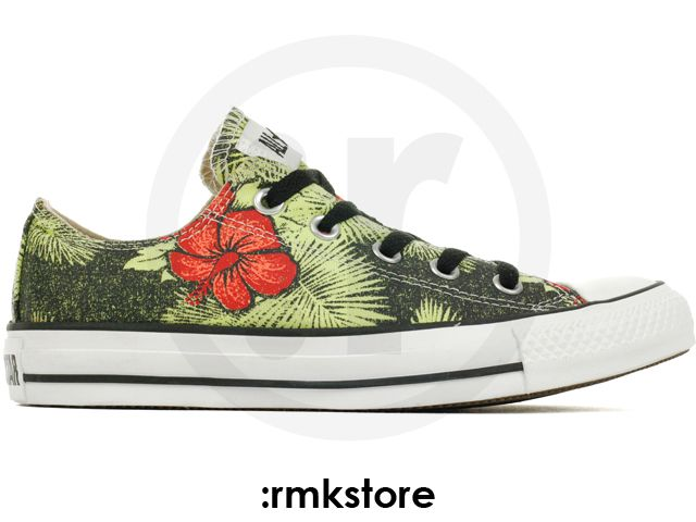Converse All Star Low Black Green Flower (136594C)