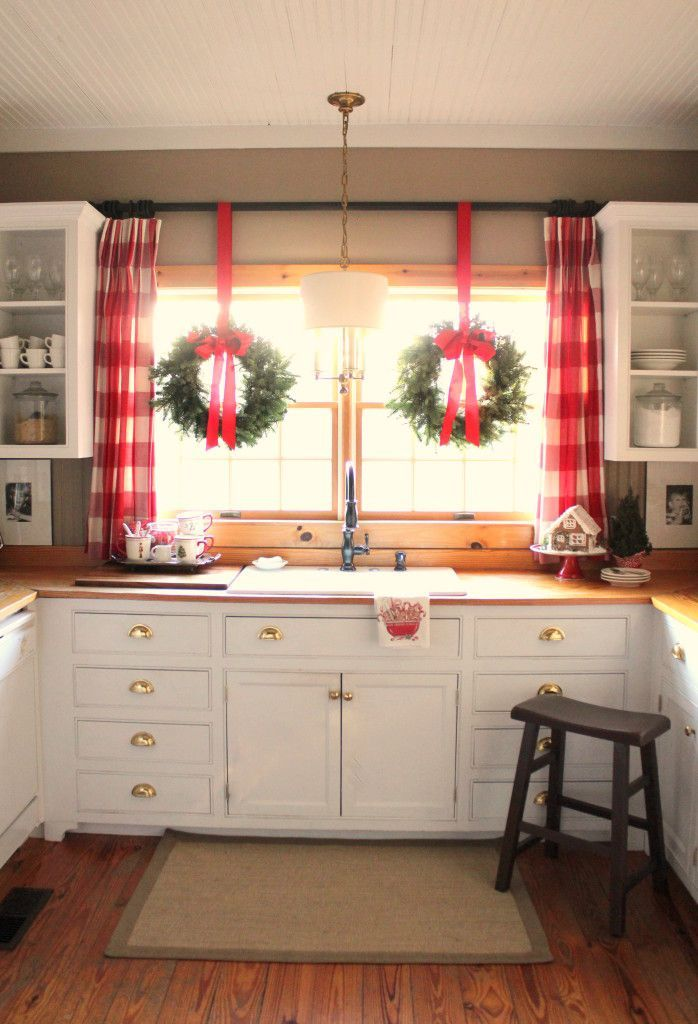 gingerbread house on cake stand large red plaid curtains - Pinterest Christmas Kitchen Decorating Ideas