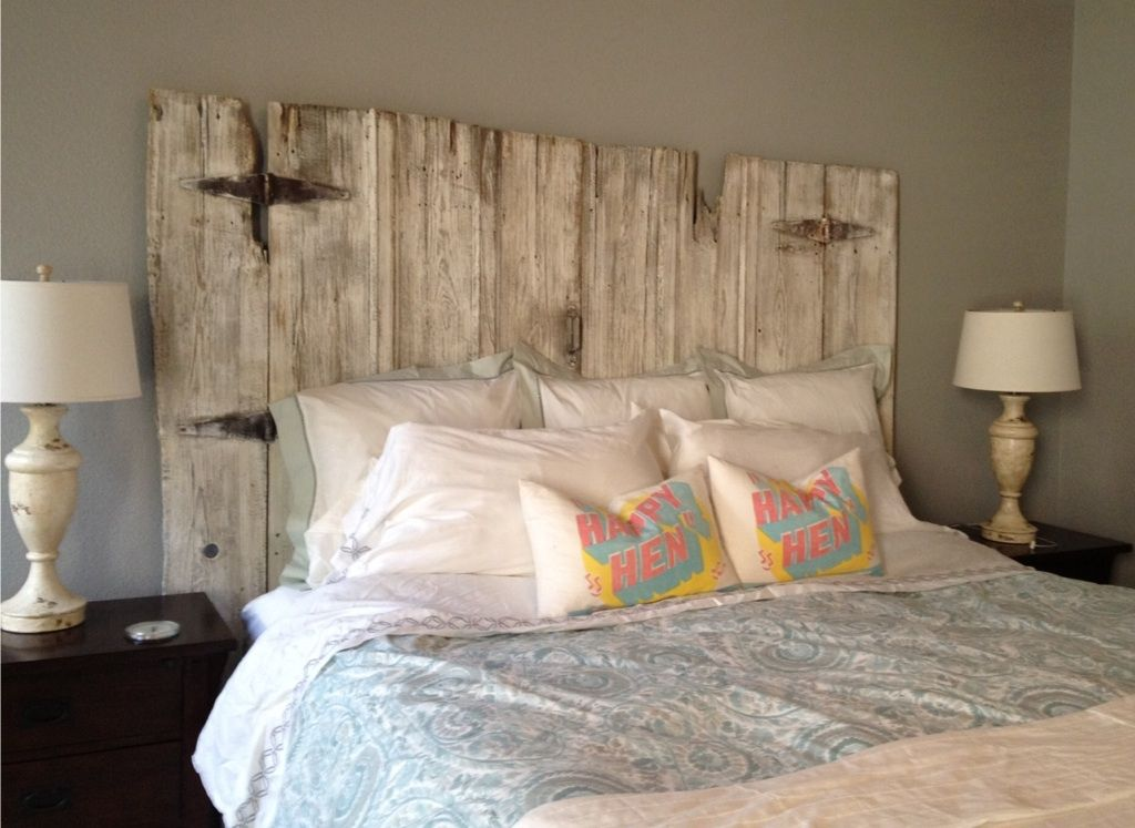King Size Barn Wood Headboard Complete With Original Hardware   Constructed  By Vintage Headboards. Call