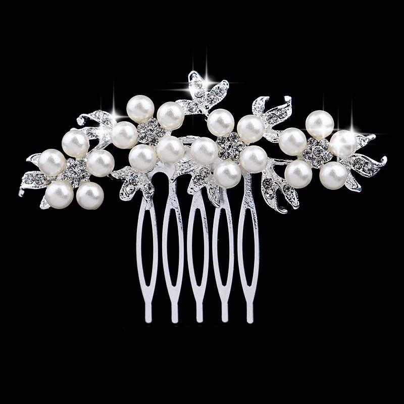 Bride Bridal Hair Comb Wedding Headwear Crystal Pearl Women Jewelry Headdress