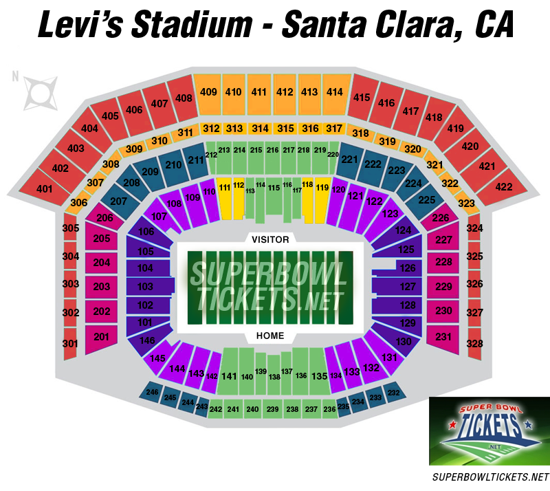 Super Bowl 50 Seating Chart Levi S Stadium In Santa Clara California Tickets Can Be Pre Ordered By Calling 1 866 881 5375