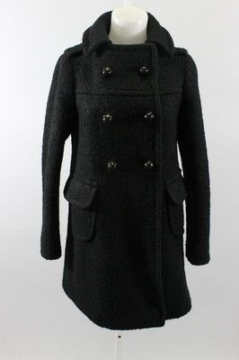 Prada Black Long Sleeve Double Breasted Pointed Collar Wool Coat