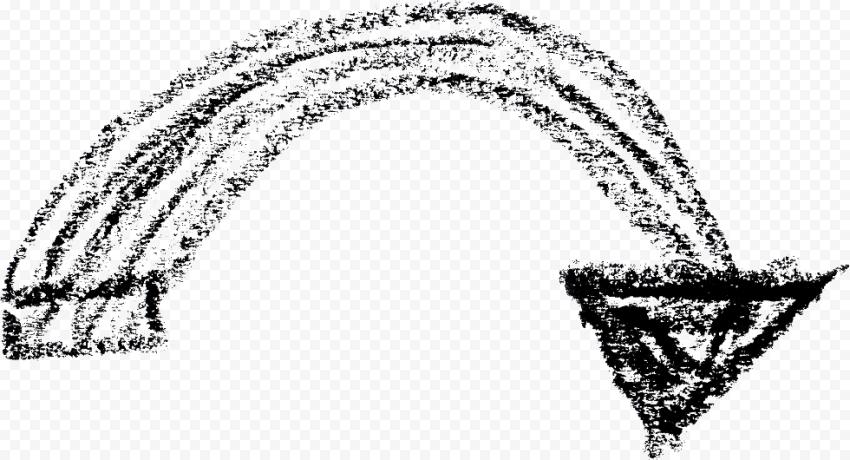 Curved Down Lower Black Chalk Hand Sketch Arrow Hand Sketch Chalk Transparent Background
