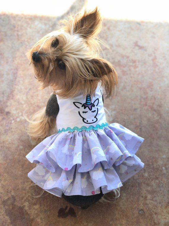 02a9bfe9929d Unicorn and Rainbows Dog Dress Customizable to your pets measurements!!  Size XXS XS and