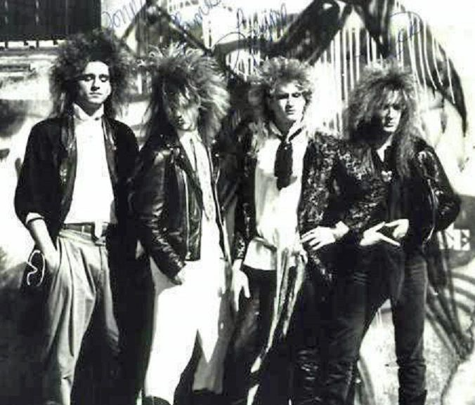 Layne Staley in his late 80's band Sleze: Layne is 2nd from right ...