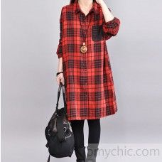 97b9a2382ed stylish red plaid pure linen dress Loose fitting linen clothing dress  vintage long sleeve lapel collar linen dresses