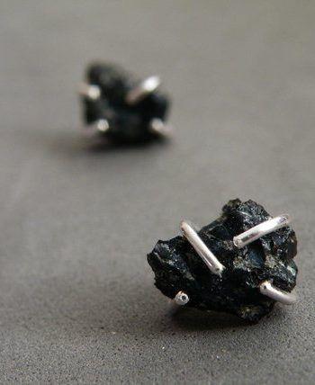 Raw Snowflake Obsidian Earrings Sterling Silver Studs #gemstonejewelry