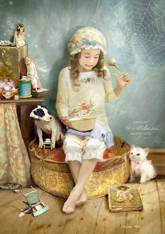 Little Miss Muffet.. Nursery gift  Print by CharlotteBirdfairies
