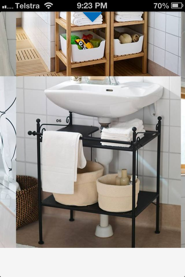 Easy vanity to hide ugly bathroom pipes ikea bathroom - Bathroom vanity under sink organizer ...
