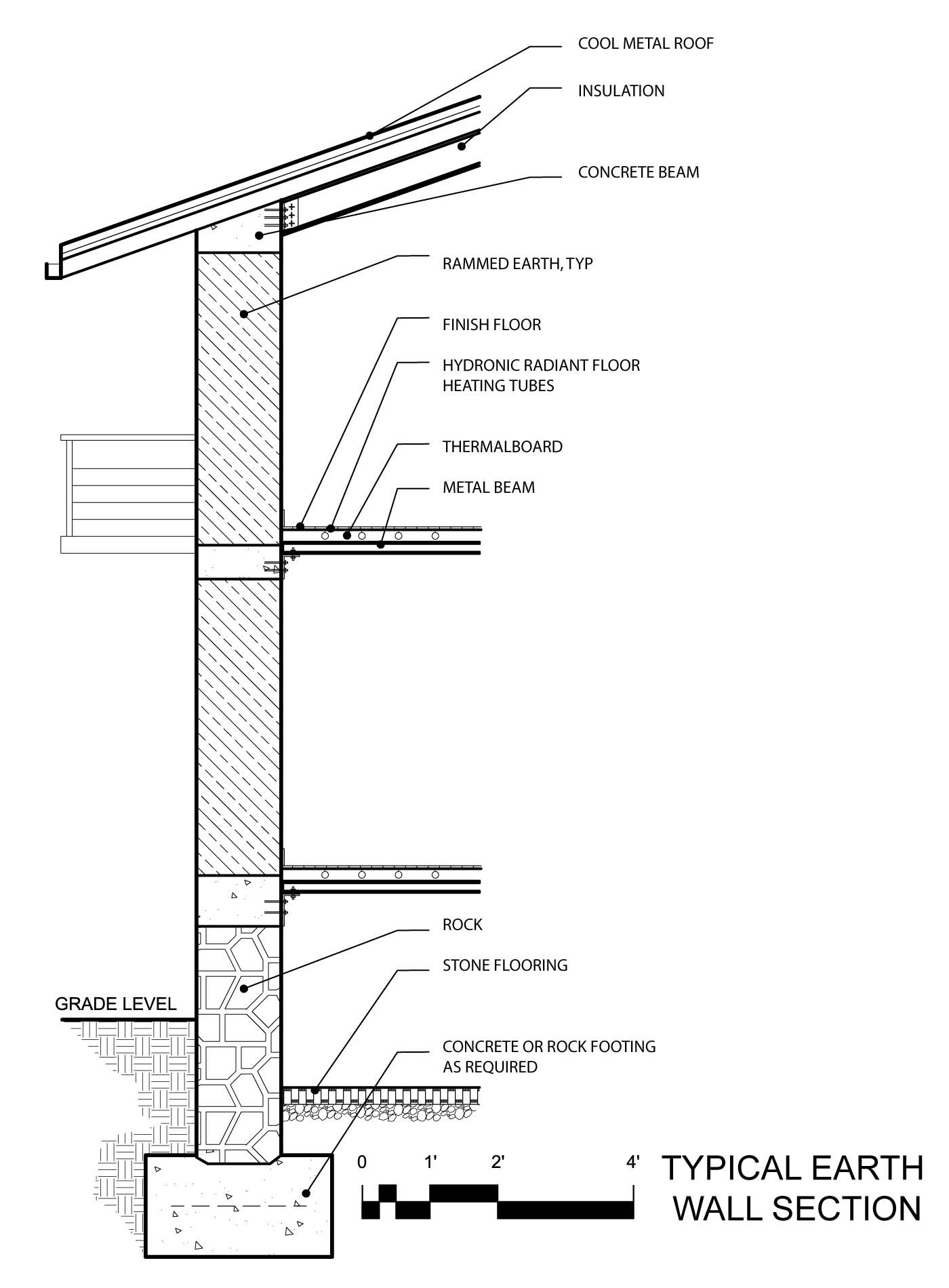 Rammed Earth Wall To Roof Section Detail