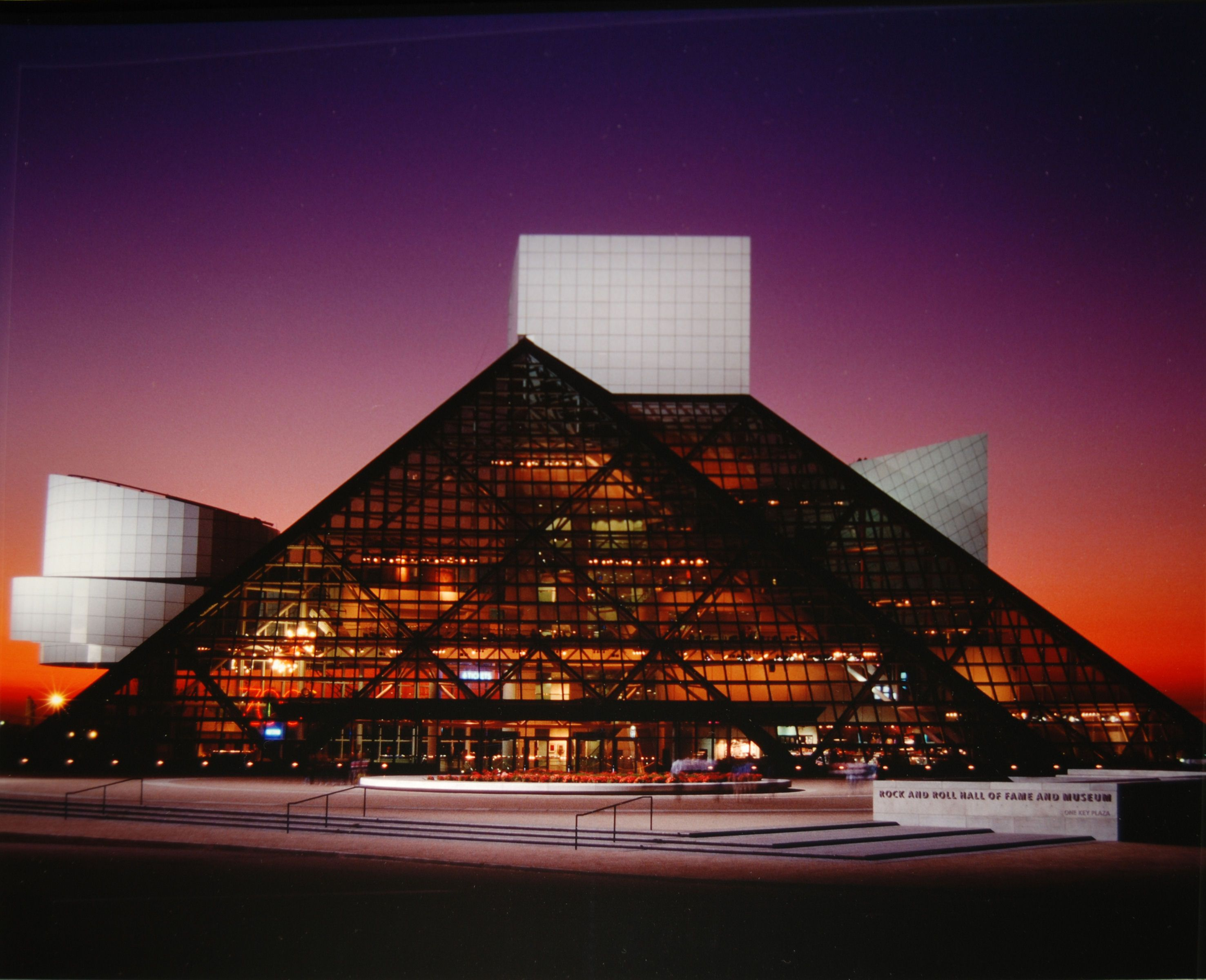 Rock and Roll Hall of Fame - I went here once, but it was day time and didn't get to see this. It looks so cool at night.