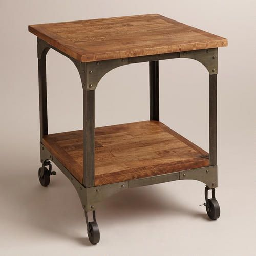 Wood And Metal Aiden Coffee Table: Put Basket On Bottom Shelf For Storage. Use As Side Table