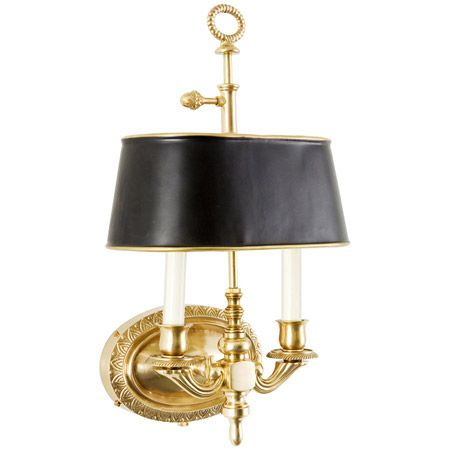 Pure Brass Traditional Twin Arm Sconce With Tole Shade Brass Wall Sconce Sconces Traditional Wall Sconces
