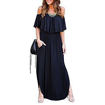 0d2bedd8a2 SCORP Women s Summer Off Shoulder Ruffles Pocket Split Long Maxi Casual  Dress