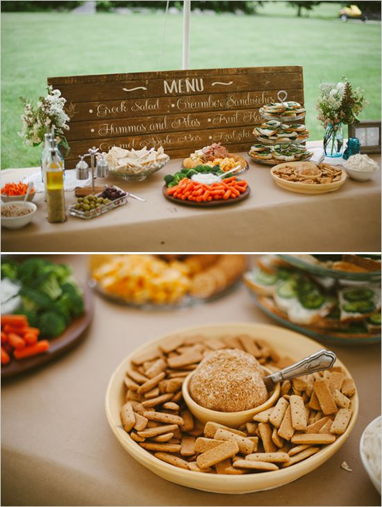 menu written on a piece of recycled wood what to server at a bridal shower for lunch
