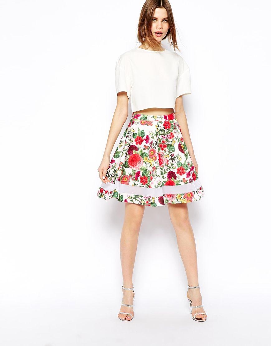 39216c9090 ASOS Tropical Floral Print Skater Skirt In Scuba