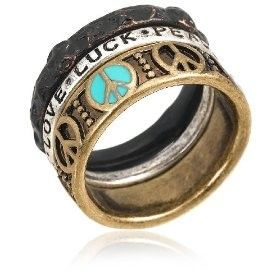 Lucky Brand Two-Tone Peace Love Luck Ring, Size 7 | review | Kaboodle