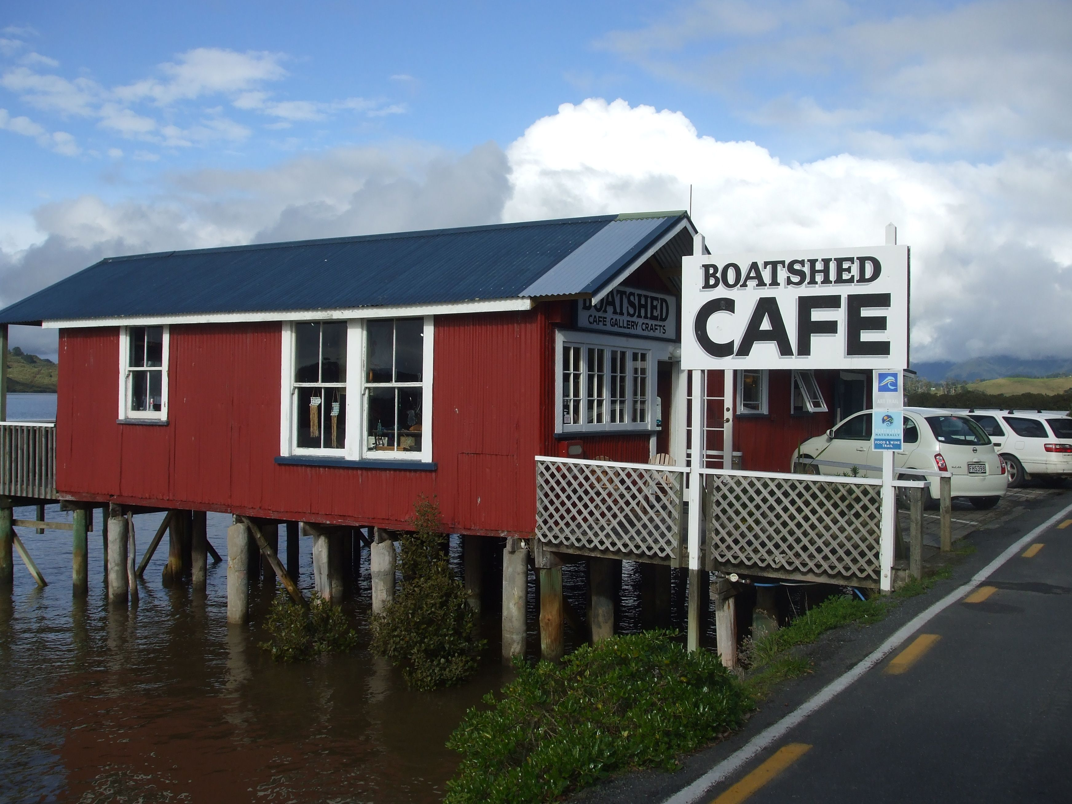 The Only Cafe In Rawene Hokianga Harbour Nz Warm Friendly Staff Best Food New Zealand Houses Boat Shed House Styles