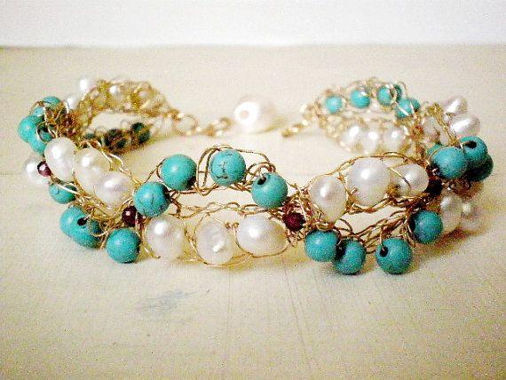Crochet nuziale Bracciale in oro, turchese e perle, gioielli sposa