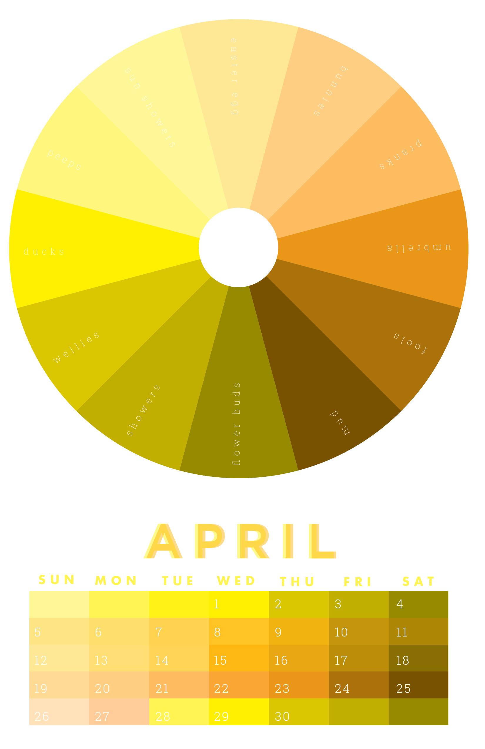 the colors of april 2015 chromophilia color wheel calendar