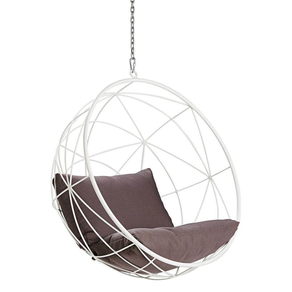fauteuil de jardin suspendu en mtal blanc et coussins gris maisons du monde - Fauteuil Jardin Suspendu