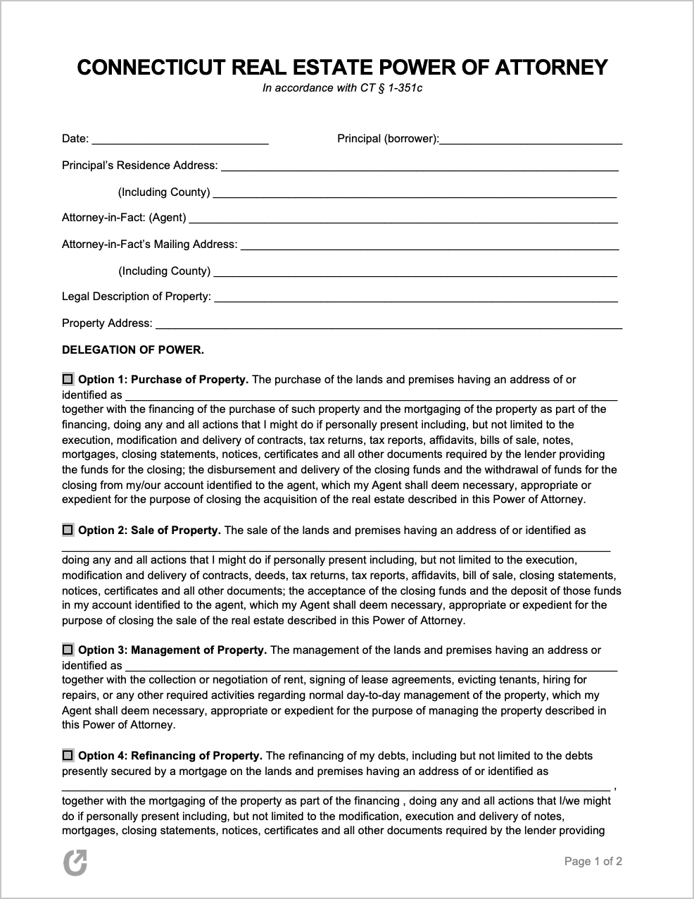 Real Estate Power Of Attorney Form Power Of Attorney Form Power Of Attorney Connecticut Real Estate