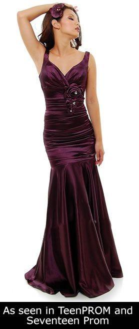 Eggplant Mermaid Bridesmaid Dress Plus Size Pleated Wide Strap ...