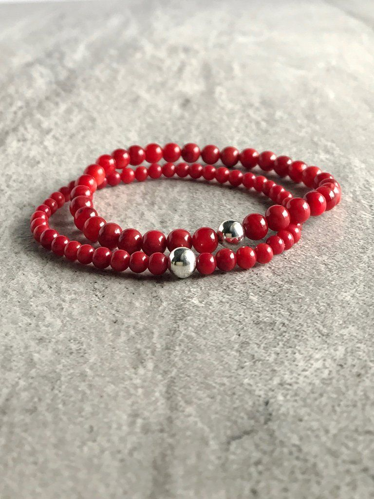 Sterling Silver Bamboo Coral Stone Bead