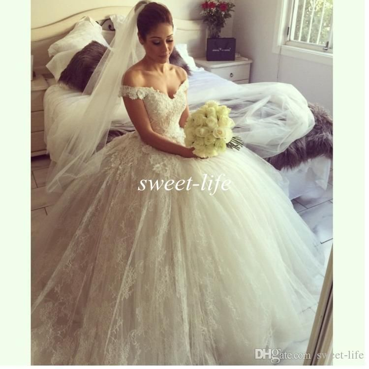 45687ca1fc50 2016 Spring Lace Wedding Dresses Off the Shoulder Tulle Ball Gown Puffy  Princess Sweep Train Custom Made Vintage Chapel Wedding Bridal Gowns Online  with ...