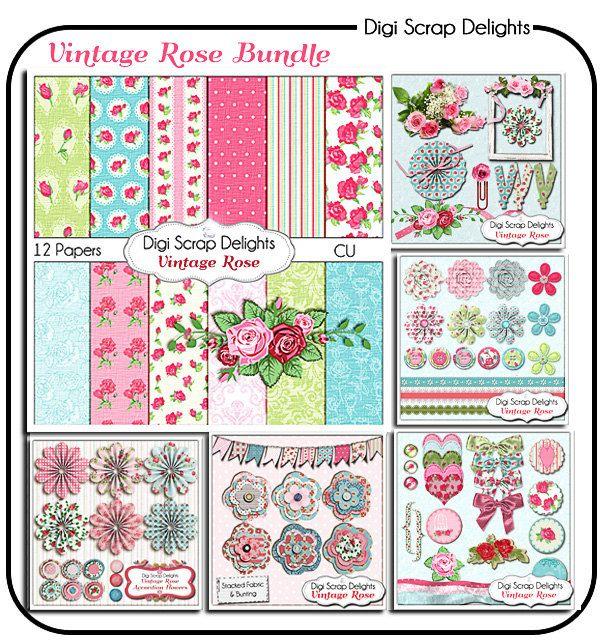 Vintage Rose Digital Scrapbook Kit Bundle by DigiScrapDelights, $8.00