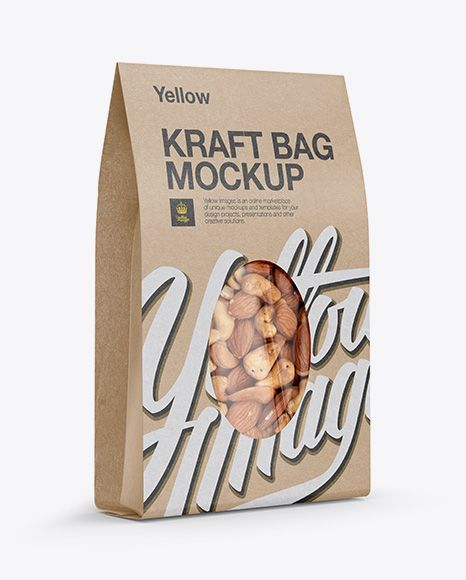 Download Kraft Stand Up Pouch W Nuts Mockup Half Side View In Pouch Mockups On Yellow Images Object Mockups Packaging Mockup Mockup Free Mockup
