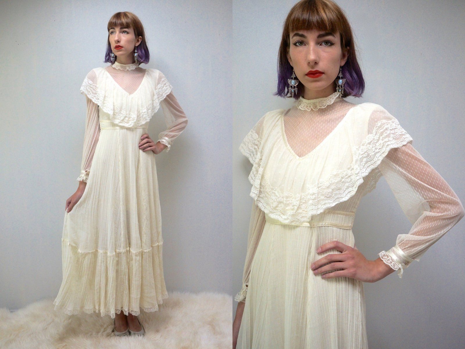 S wedding dress bohemian wedding dress gunne sax style wedding