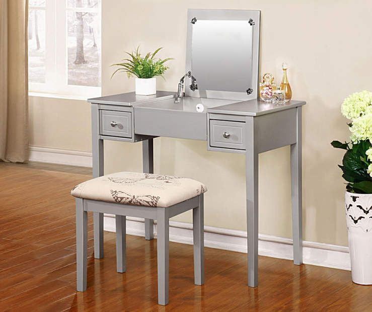 Silver Butterfly Mirror Vanity Set With Stool At Big Lots White Vanity Table White Vanity Vanity Table