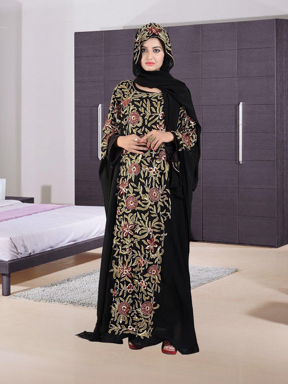 Embellished Arabian colorful kaftan jilbab forecast dress for autumn in 2019