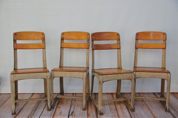"Retro Eames Era School 17"" Kid Adult Chairs, sold"