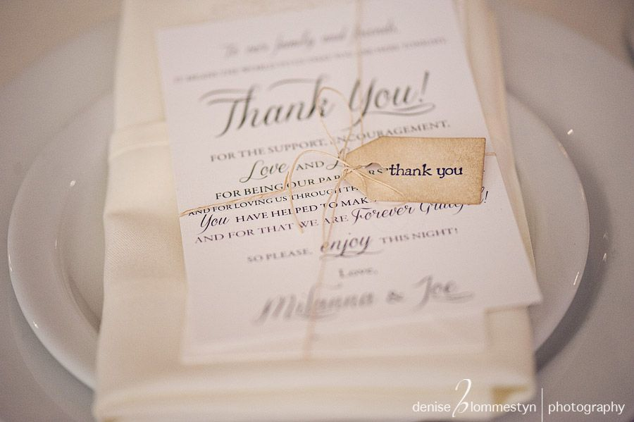 Special thank you note to wedding guests - maybe with tag as place