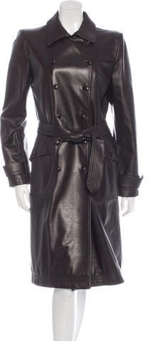 Oscar de la Renta Long Leather Coat