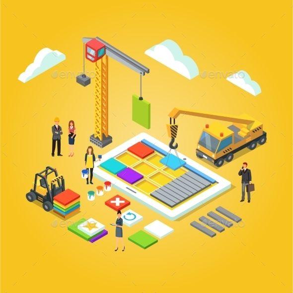 Team of app engineers and their leader building mobile app