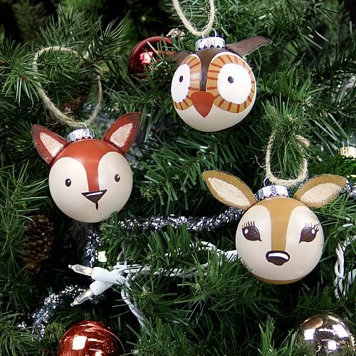 3-D Painted Woodland Ornaments -- Add these forest creatures to your holiday tree.  #decoartprojects #diychristmasornaments