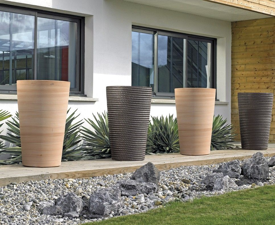 Vase haut sans bouche en terre cuite design contemporain for Deco jardin contemporain