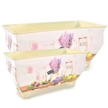 Conjunto com 2 Vasos Estilo Provençal - Flores Roxas | JARDIM | TucanoGold
