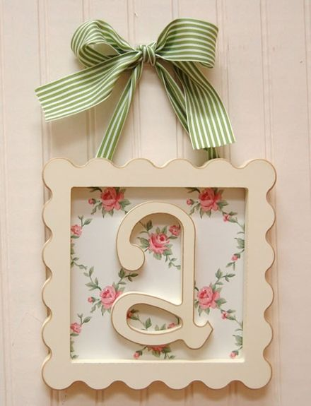 Scalloped Square Frame Wall Letters   Letras de madera enmarcados ...