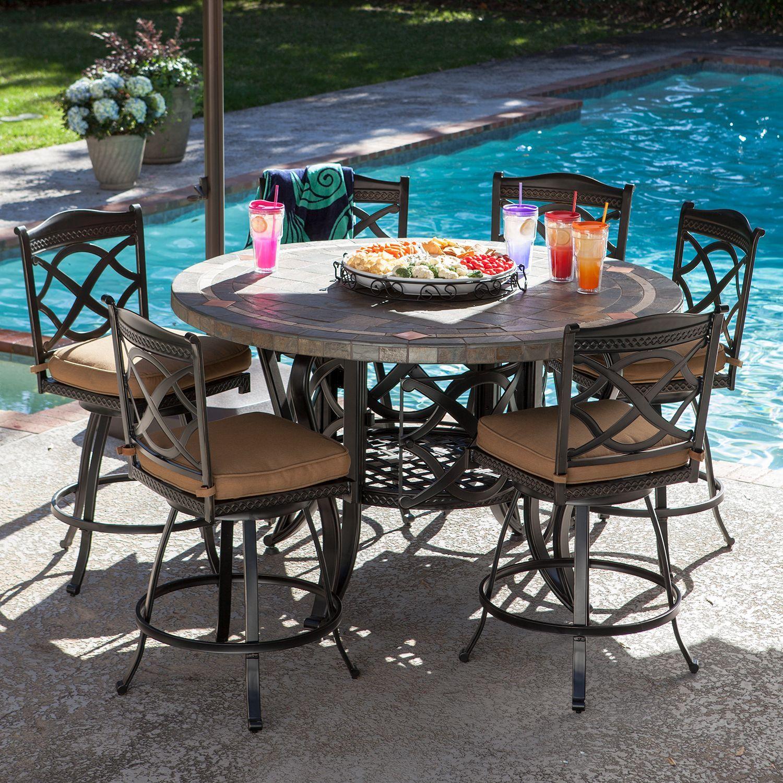 heirloom slate outdoor patio dining set  7 pc original