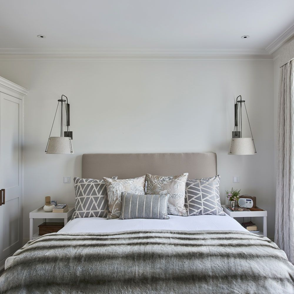 Modern grey bedroom with patterned cushions   Bedroom Woodlands Park ...