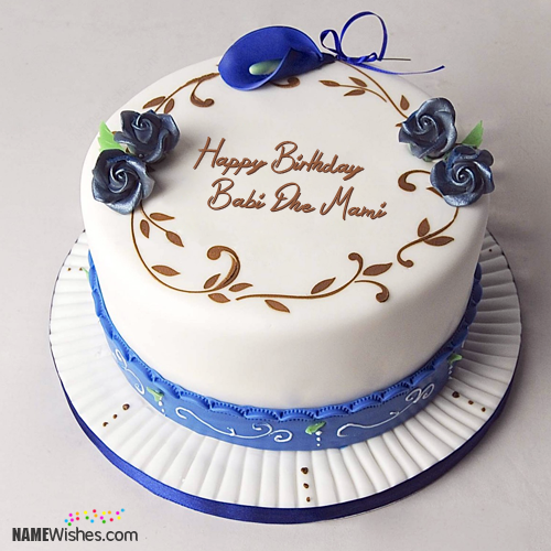 The Name Babi Dhe Mami Is Generated On Simple Birthday Cake With